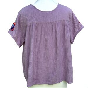 See and be Seen Tops - See and Be Seen floral embroidered peasant Top